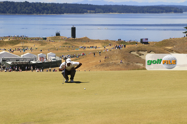 Tiger WOODS (USA) lines up his putt on the 7th green during Friday's Round 2 of the 2015 U.S. Open 115th National Championship held at Chambers Bay, Seattle, Washington, USA. 6/19/2015.<br /> Picture: Golffile | Eoin Clarke<br /> <br /> <br /> <br /> <br /> All photo usage must carry mandatory copyright credit (&copy; Golffile | Eoin Clarke)