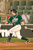 Justin Bass #1 of the Greensboro Grasshoppers follows through on his swing versus the Kannapolis Intimidators at Fieldcrest Cannon Stadium June 13, 2009 in Kannapolis, North Carolina. (Photo by Brian Westerholt / Four Seam Images)
