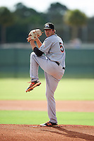 GCL Marlins relief pitcher Ryan Newell (50) during the first game of a doubleheader against the GCL Cardinals on August 13, 2016 at Roger Dean Complex in Jupiter, Florida.  GCL Cardinals defeated GCL Marlins 4-2 in a continuation of a game originally started on August 8th.  (Mike Janes/Four Seam Images)