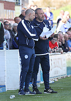 Queen of the South Manager Allan Johnston (left) and Assistant Manager Sandy Clark decide on making changes in the SPFL Ladbrokes Championship Play Off semi final match between Queen of the South and Montrose at Palmerston Park, Dumfries on  11.5.19.
