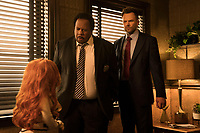 Leslie David Baker and Joel McHale <br /> The Happytime Murders (2018) <br /> *Filmstill - Editorial Use Only*<br /> CAP/RFS<br /> Image supplied by Capital Pictures