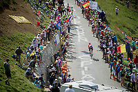 Tony Gallopin (FRA/Lotto-Belisol) up the Port de Balès (HC/1755m/11.7km/7.7%)<br /> <br /> 2014 Tour de France<br /> stage 16: Carcassonne - Bagnères-de-Luchon (237km)