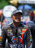 Jun 16, 2018; Bristol, TN, USA; NHRA top fuel driver Antron Brown during qualifying for the Thunder Valley Nationals at Bristol Dragway. Mandatory Credit: Mark J. Rebilas-USA TODAY Sports