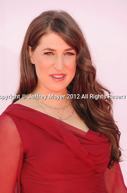 LOS ANGELES, CA - SEPTEMBER 23: Mayim Bialik. arrives at the 64th Primetime Emmy Awards at Nokia Theatre L.A. Live on September 23, 2012 in Los Angeles, California.