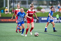 Boston, MA - Saturday July 01, 2017: Adriana Leon and Kassey Kallman during a regular season National Women's Soccer League (NWSL) match between the Boston Breakers and the Washington Spirit at Jordan Field.