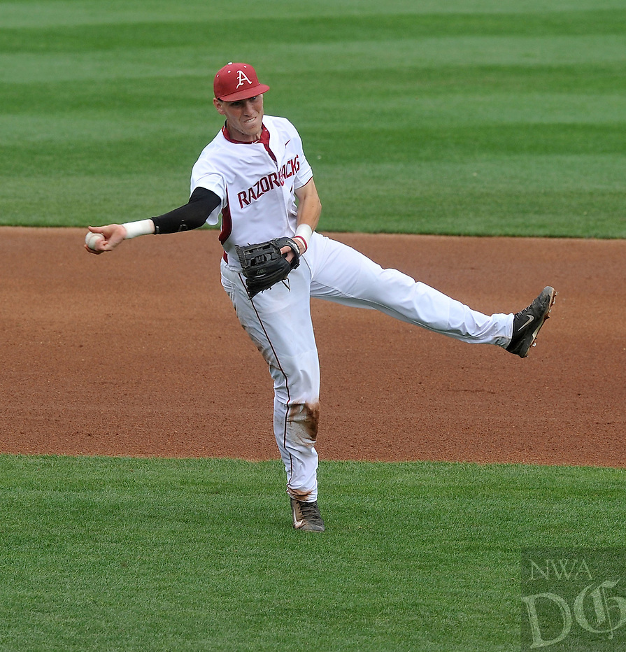 NWA Democrat-Gazette/Michael Woods --04/15/2015--w@NWAMICHAELW...  University of Arkansas third baseman Bobby Wernes makes the play on a ground ball during Wednesday nights game against Stephen F Austin at Baum Stadium in Fayetteville.