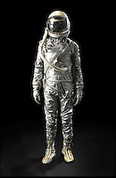 BNPS.co.uk (01202) 558833<br /> Picture: Bonhams/BNPS<br /> <br /> ****Please use full byline****<br /> <br /> Mercury Era Spacesuit.<br /> <br /> A 54-year-old spacesuit from the USA's famed mission to beat Cold War rivals the Soviet Union in the race to put the first man into space has emerged for sale.<br /> <br /> The silver suit was used during the early days of NASA's Project Mercury flight programme, the USA's bid for supremacy in spaceflight.<br /> <br /> It was manufactured using a special fabric made by by the Minnesota Mining and Manufacturing Company, now known as 3M.<br /> <br /> The outer part of the suit is made from green nylon coated with aluminium powder, giving it its iconic silver colouring.<br /> <br /> The spacesuit is tipped to fetch &pound;7,000 when it goes under the hammer at Bonhams on behalf of a private collector from Texas.