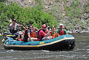 Bucking Rainbow Outfitters crashing Cable Rapid while floating the Upper Colorado River from Rancho Del Rio to State Bridge on the afternoon of July 10, 2014.