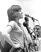 "Actress Jane Fonda is shown as she addressed the estimated 100,000 people who attended the anti-war rally by the White House.  The Demonstration was generally non-violent save for scattered outbreaks along Pennsylvania Avenue near the Department of Justice Building in Washington, D.C. on May 9, 1970..Credit: Benjamin E. ""Gene"" Forte - CNP"
