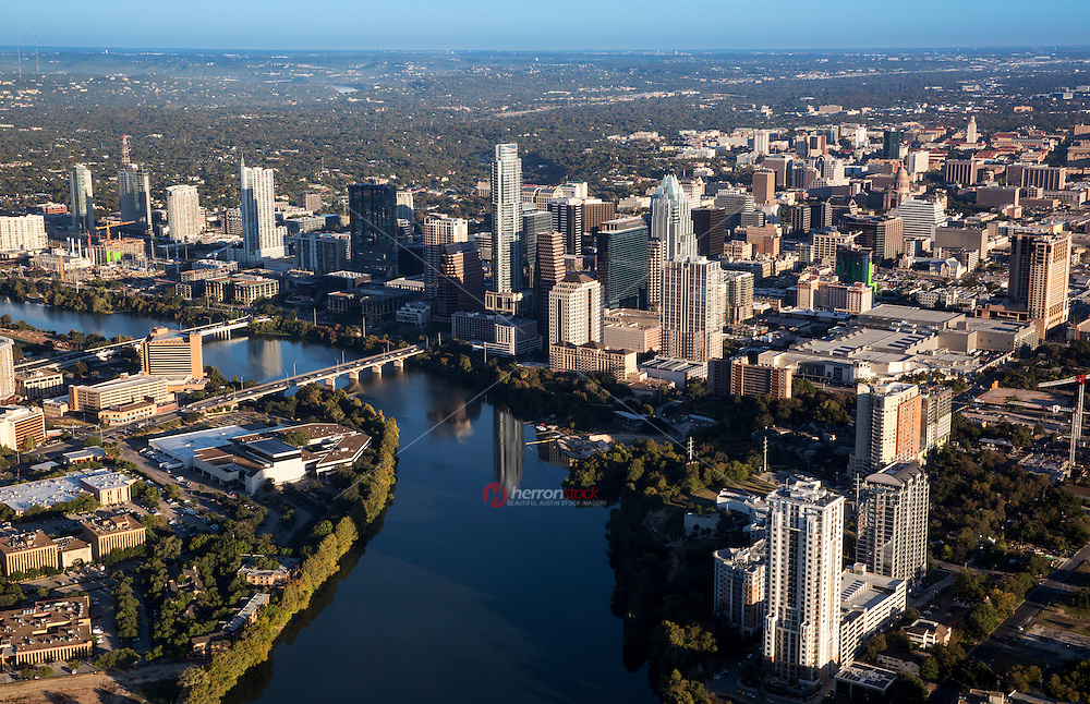 Beautiful aerial view from a helicopter of the Lady Bird Lake and downtown Austin Skyline