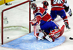 15 October 2009: Montreal Canadiens' goaltender Carey Price gives up a goal to the Colorado Avalanche tying the score 1-1 in the second period at the Bell Centre in Montreal, Quebec, Canada. The Avalanche defeated the Canadiens 3-2 in the home opening game for the Habs. Mandatory Credit: Ed Wolfstein Photo