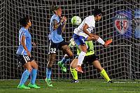 Piscataway, NJ - Friday May 13, 2016: Boston Breakers forward Kyah Simon (17) heads the ball as Sky Blue FC forward Tasha Kai (32) defends. Sky Blue FC defeated the Boston Breakers 1-0 during a regular season National Women's Soccer League (NWSL) match at Yurcak Field.