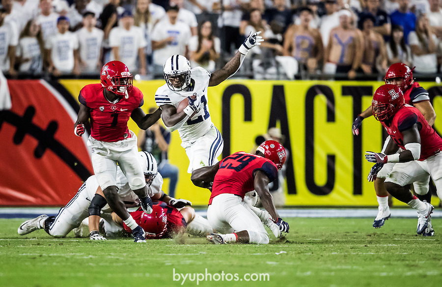 16FTB at Arizona 1310<br /> <br /> 16FTB at Arizona - Cactus Kickoff<br /> <br /> BYU Football defeated Arizona 18-16 in the Cactus Kickoff hosted at the University of Phoenix Stadium in Glendale, Arizona. It was also the first win for new Head Coach Kalani Sitake. <br /> <br /> September 3, 2016<br /> <br /> Photo by Jaren Wilkey/BYU<br /> <br /> © BYU PHOTO 2016<br /> All Rights Reserved<br /> photo@byu.edu  (801)422-7322