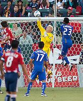KC Wizard goalie Jimmy Nielsen (1) deflects the ball over the goal during the first half of the game between Chivas USA and the Kansas City Wizards at the Home Depot Center in Carson, CA, on September 19, 2010. Final score Chivas USA 0, Kansas City Wizards 2.