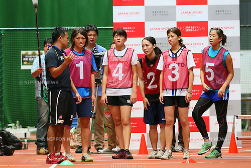 (L to R) <br /> Tomomi Kozasa, <br /> Mizuno Hagiwara, <br /> Shuri Yahata, <br /> Yuki Wakita, <br /> Hinata Oka, <br /> SEPTEMBER 14, 2013 : <br /> National talent identification and development project <br /> First shot &quot;Tall x Speed x Women&quot; <br /> at JISS, Tokyo, Japan. <br /> (Photo by YUTAKA/AFLO SPORT) [1040]