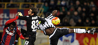 Calcio, Serie A:  Bologna vs Juventus. Bologna, stadio Renato Dall'Ara, 19 febbraio 2016. <br /> Bologna's Godfred Donsah and goalkeeper Antonio Mirante and Juventus&rsquo; Paul Pogba fight for the ball during the Italian Serie A football match between Bologna and Juventus at Bologna's Renato Dall'Ara stadium, 19 February 2016.<br /> UPDATE IMAGES PRESS/Isabella Bonotto
