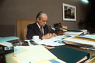 Quebec City, Canada, 1978. Quebec Premier René Levesque in his office.