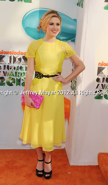 LOS ANGELES, CA - MARCH 31: Caroline Sunshine arrives at the 2012 Nickelodeon Kids' Choice Awards at Galen Center on March 31, 2012 in Los Angeles, California.