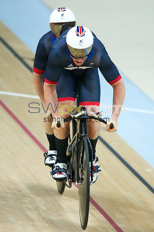 Picture by Alex Whitehead/SWpix.com - 11/09/2016 - 2016 Rio Paralympic Games - Track Cycling - Olympic Velodrome, Rio de Janeiro, Brazil - Great Britain's Neil Fachie and Pete Mitchell win Silver in the Men's B 1000m Time Trial Final.