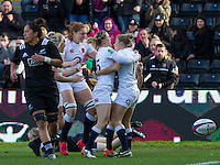 Players rush to celebrate Fiona Pocock's try LtoR Rachael Burford, Harriet Millar-Mills, Danielle Waterman and Fiona Pocock, England Women v New Zealand Women in an Old Mutual Wealth Series, Autumn International match at Twickenham Stoop, Twickenham, England, on 19th November 2016. Full Time score 20-25