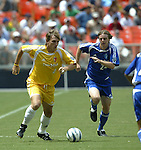 31 August 2004: Andreas Herzog (4) and Eddie Gaven (24). The MLS Eastern Conference All Stars defeated the MLS Western Conference All Stars 3-2 at RFK Stadium in Washington, DC in the Major League Soccer Sierra Mist All-Star Game..