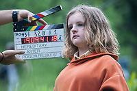 Hereditary (2018) <br /> Behind the scenes photo of Milly Shapiro<br /> *Filmstill - Editorial Use Only*<br /> CAP/MFS<br /> Image supplied by Capital Pictures