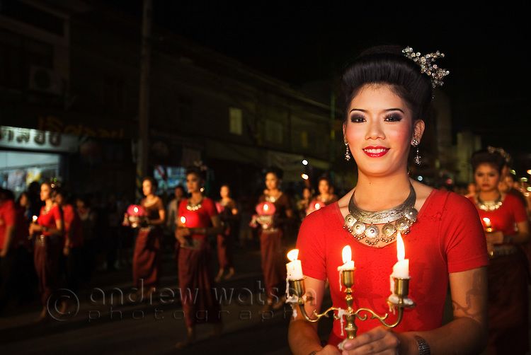 Dancers parade through the streets during the annual Phimai festival - celebrating the town's Khmer history.  Phimai, Nakhon Ratchasima province, THAILAND