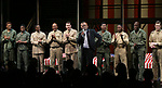 """Kenny Leon, Blair Underwood, David Alan Grier and Jerry O'Connell with cast During the Broadway Opening Night Curtain Call Bows for The Roundabout Theatre Company's """"A Soldier's Play""""  at the American Airlines Theatre on January 21, 2020 in New York City."""