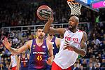 League ACB-ENDESA 2017/2018 - Game: 20.<br /> FC Barcelona Lassa vs Retabet Bilbao Basket: 90-58.<br /> Adrien Moerman vs Mickell Gladness.