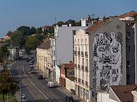 Wandbild, Blick von Brankova Br&uuml;cke, Belgrad, Serbien, Europa<br /> Mural, View from Brankova Bridge, Belgrade, Serbia, Europe