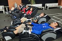 Switzerland. Canton Ticino. Tenero. Centro Sportivo Nazionale della Gioventù - Tenero (CST). Nationales Jugendsportzentrum Tenero. Massaging seats. Massage armchairs. 31.05.11 © 2011 Didier Ruef
