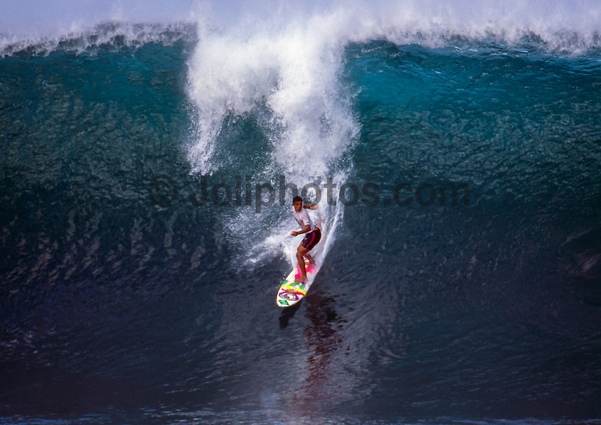 Sunny Garcia (HAW) surfing at Pipeline during the running of the 1995 Pipeline Masters on Oahu's North Shore, Hawaii. Photo: joliphotos.com