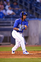 Tulsa Drillers second baseman Willie Calhoun (1) hits a home run during a game against the Arkansas Travelers on April 25, 2016 at ONEOK Field in Tulsa, Oklahoma.  Tulsa defeated Arkansas 4-3.  (Mike Janes/Four Seam Images)