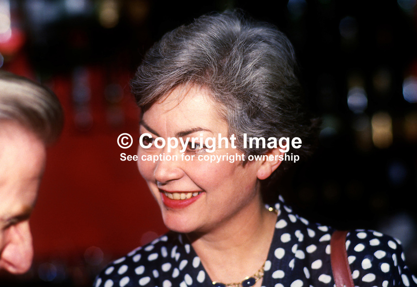 Suzanne Mary Fairbairn, wife, Nicholas Fairbairn, MP, Conservative Party, UK, May, 1986, 19860506SMF<br /> <br /> Copyright Image from Victor Patterson, 54 Dorchester Park, <br /> Belfast, UK, BT9 6RJ<br /> <br /> t1: +44 28 9066 1296 (from Rep of Ireland 048 9066 1296)<br /> t2: +44 28 9002 2446 (from Rep of Ireland 048 9002 2446)<br /> m: +44 7802 353836<br /> <br /> e1: victorpatterson@me.com<br /> e2: victorpatterson@gmail.com<br /> <br /> www.victorpatterson.com<br /> <br /> Please see my Terms and Conditions of Use at VICTORPATTERSON.COM. It is IMPORTANT that you familiarise yourself with them.<br /> <br /> Images used on the Internet must be visibly watermarked i.e. &copy;VICTORPATTERSON.COM within the body of the image and copyright metadata must not be deleted. Images used on the Internet have a size restriction of 4kbs and are chargeable at the then current NUJ rates.<br /> <br /> This image is only available for the use of the download recipient i.e. television station, newspaper, magazine, book publisher, etc, and must not be passed on to any third party. It is also downloaded on condition that each and every usage is notified within 7 days to victorpatterson@me.com<br /> <br /> The right of Victor Patterson to be identified as the author is asserted in accordance with The Copyright Designs And Patents Act (1988).