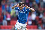 St Johnstone v Celtic&hellip;.McDiarmid Park, Perth.. 11.05.16<br />Steven MacLean celebrates his goal<br />Picture by Graeme Hart.<br />Copyright Perthshire Picture Agency<br />Tel: 01738 623350  Mobile: 07990 594431