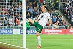 Stockholm 2015-08-24 Fotboll Allsvenskan Djurg&aring;rdens IF - Hammarby IF :  <br /> Hammarbys Fredrik Torsteinb&ouml; Torsteinb&oslash; sparkar p&aring; ena stolpen i m&aring;let efter en missad m&aring;lchans under matchen mellan Djurg&aring;rdens IF och Hammarby IF <br /> (Foto: Kenta J&ouml;nsson) Nyckelord:  Fotboll Allsvenskan Djurg&aring;rden DIF Tele2 Arena Hammarby HIF Bajen arg f&ouml;rbannad ilsk ilsken sur tjurig angry