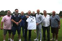 Left to right: Dean Whiittington, Enfield FC Goalkeeping coach Lee Hanning, Alan Farmer, Enfield FC Manager Matt Hanning , neil/, Enfield FCdirector Neil Ruddock,, Captain Ben Bradbury, Enfield Chairman Steve Whittington, Peter Ticehurst  during a media event at Enfield FC on 27th June 2020