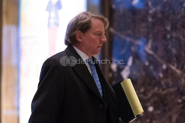 Attorney and United States Federal Election Commission member Don McGahn is seen in the lobby of Trump Tower in New York, NY, USA on January, 9, 2017. <br /> Credit: Albin Lohr-Jones / Pool via CNP /MediaPunch