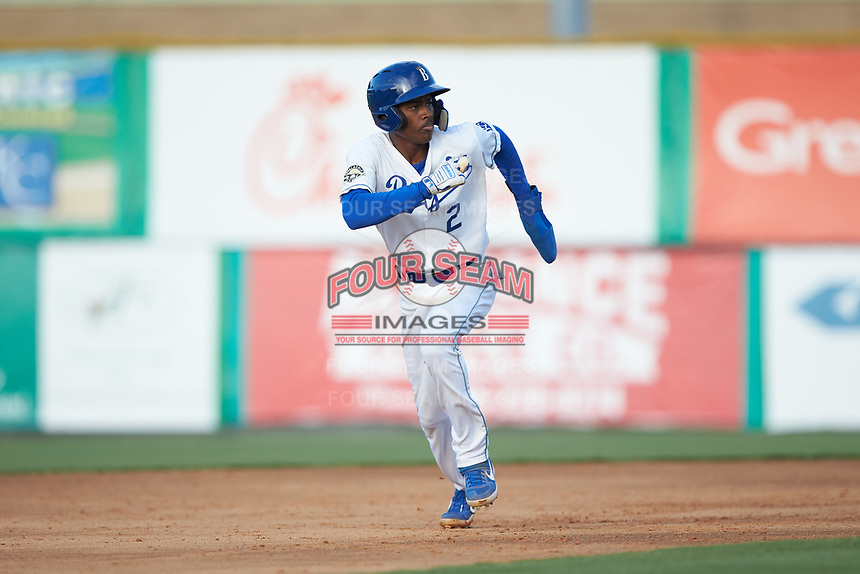 Maikel Garcia (2) of the Burlington Royals takes off for third base during the game against the Danville Braves at Burlington Athletic Stadium on July 13, 2019 in Burlington, North Carolina. The Royals defeated the Braves 5-2. (Brian Westerholt/Four Seam Images)