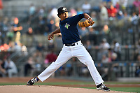 Starting pitcher Harol Gonzalez (45) of the Columbia Fireflies delivers a pitch in a game against  the Charleston RiverDogs on Friday, June 9, 2017, at Spirit Communications Park in Columbia, South Carolina. Columbia won, 3-1. (Tom Priddy/Four Seam Images)