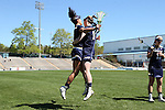 03 April 2016: North Carolina's Danielle Lukish (left) and Alex Dalton (right). The University of North Carolina Tar Heels hosted the University of Notre Dame Fighting Irish in a 2016 NCAA Division I Women's Lacrosse match. Maryland won the game 14-8.