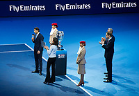Rafael Nadal of Spain (1) speaking before he collects his ATP World No1 Award trophy<br /> <br /> Photographer Ashley Western/CameraSport<br /> <br /> International Tennis - Barclays ATP World Tour Finals - O2 Arena - London - Day 1 - Sunday 12th November 2017<br /> <br /> World Copyright &copy; 2017 CameraSport. All rights reserved. 43 Linden Ave. Countesthorpe. Leicester. England. LE8 5PG - Tel: +44 (0) 116 277 4147 - admin@camerasport.com - www.camerasport.com