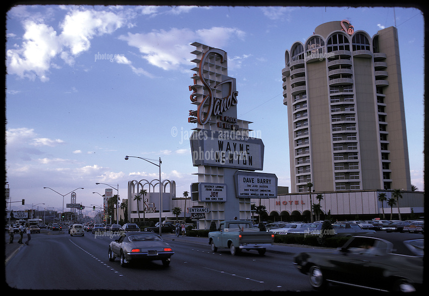 Las Vegas Strip. The Sands Hotel & Casino, Wayne Newton on marquee, late in the day in July 1973