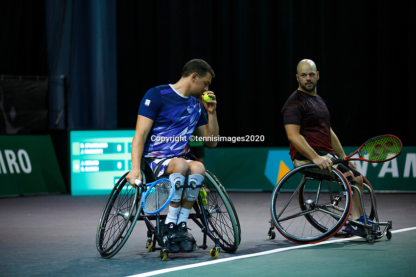 Rotterdam, The Netherlands, 11 Februari 2020, ABNAMRO World Tennis Tournament, Ahoy, <br /> Wheelchair tennis: Joachim Gerard (BEL) and Stefan Olsson (SWE).<br /> Photo: www.tennisimages.com