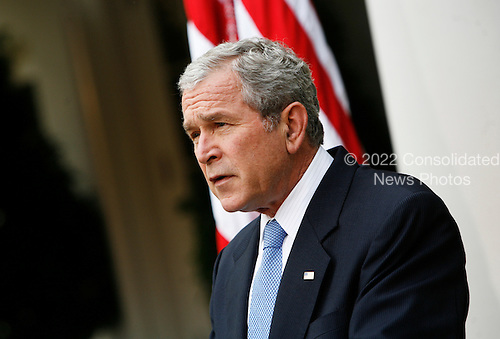 Washington, DC - November 5, 2008 -- United States President George W. Bush makes a statement on the election of Barack Obama as the next president of the United States in the Rose Garden of the White House on Wednesday, November 5, 2004, Washington DC..Credit: Aude Guerrucci - Pool via CNP