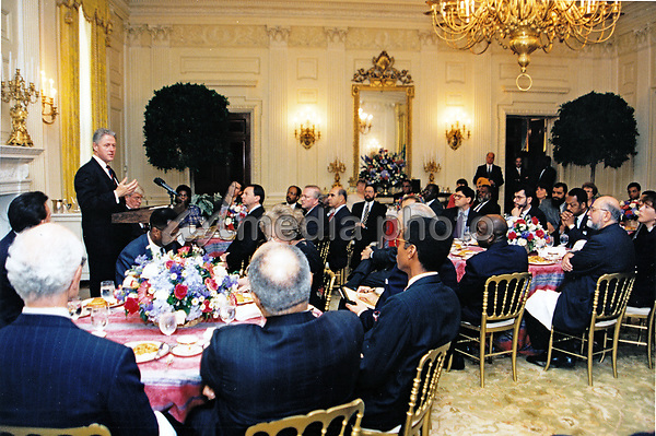 25 October 2017 - Bill Clinton Archive File Photo: United States President Bill Clinton makes remarks as he hosts a breakfast for Ecumenical leaders to discuss church burnings in the State Dining Room of the White House in Washington, DC on June 26, 1996.<br /> Mandatory Credit:  Sharon Farmer / White House via CNP/AdMedia