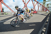 3 men breakaway group of the day: Ronan Van Zandbeek (NLD/De Rijcke), Dries Hollanders (BEL/Metec-DKH) &amp; Jay Thomson (RSA/MTN-Qhubeka) over the Spijkenisserbrug<br /> <br /> 3rd World Ports Classic 2014<br /> stage 1: Rotterdam - Antwerpen 195km