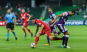 4th November 2017, nib Stadium, Perth, Australia; A-League football, Perth Glory versus Adelaide United; Adelaide United Ben Garuccio gets past Perth Glory Xavi Torres