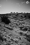 The Settlement of Efrat (or Efrata) behind Palestinian farmland in the Judean Mountains south of Bethlehem as seen from a construction site for Israel's controversial West Bank barrier near the Palestinian village of Wad Rahal on 07/06/2010. The farmland pictured will fall on the Israeli side of the barrier upon it's completion & will only be accessible three times a day for Palestinian farmers, if at all.