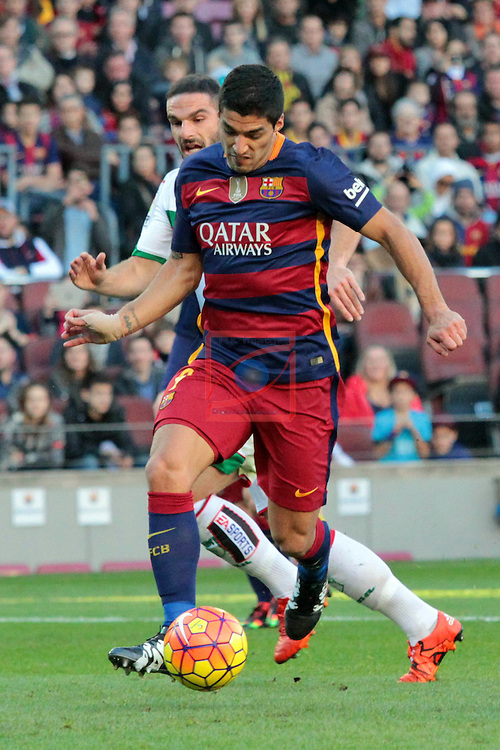 League BBVA 2015/2016. Game: 19.<br /> FC Barcelona vs Granada CF: 4-0.<br /> Luis Suarez vs Lomban.